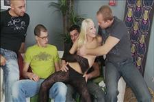 Lena Cova's First Gangbang Scene 1